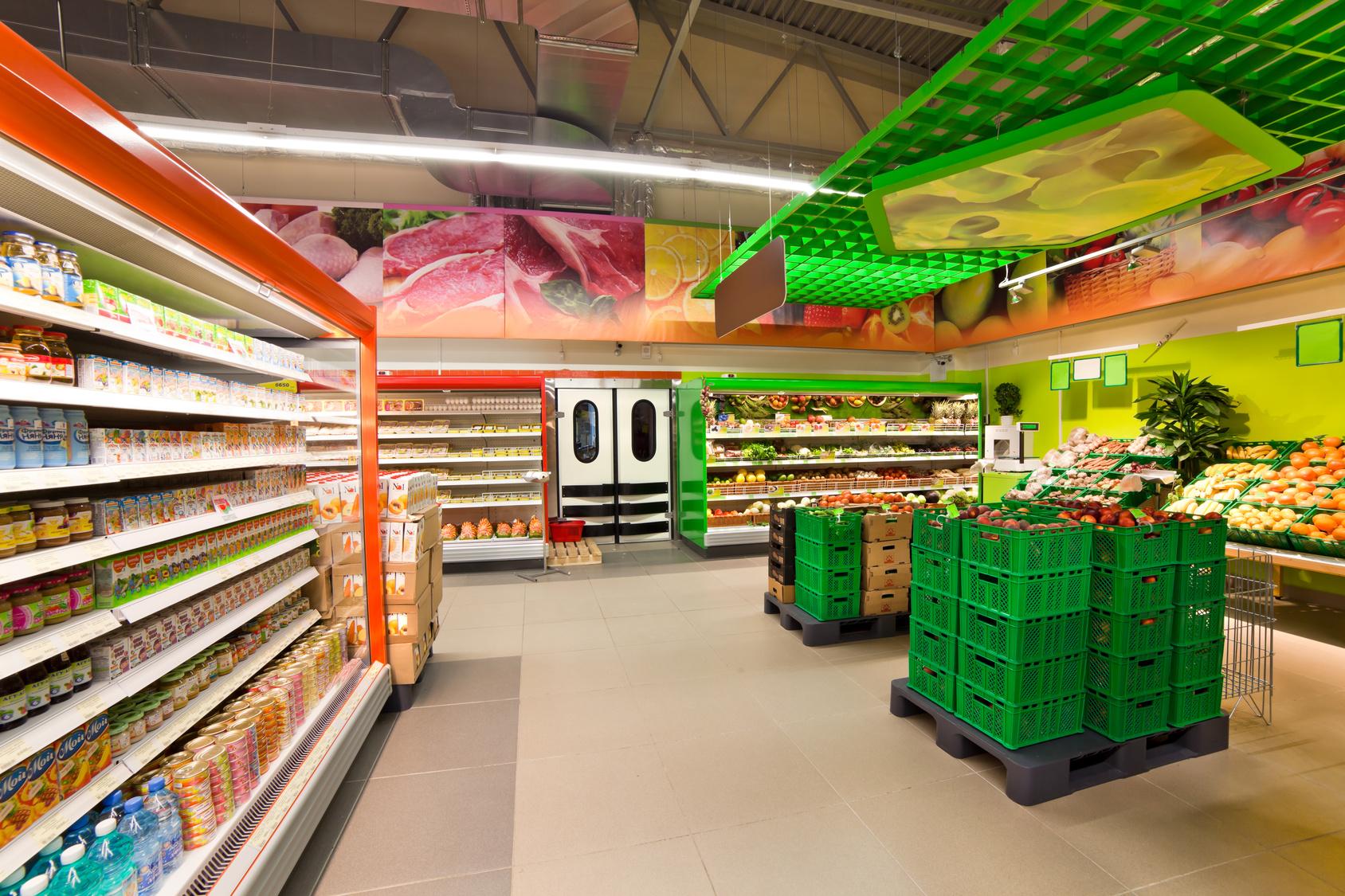 LEDBERG oświetlenie LED liniowe, supermarket