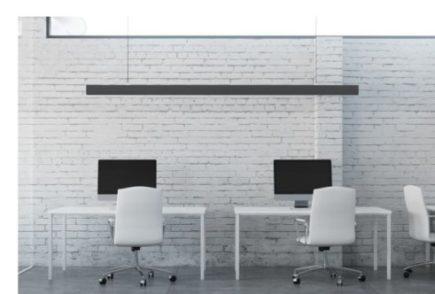 oswietlenie biurowe LED, czarna lampa LED, czarna oprawa LED